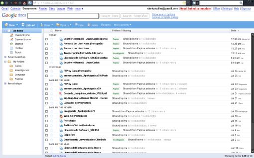 Captura de la portada de Google Docs sobre Mozilla Firefox 3.0
