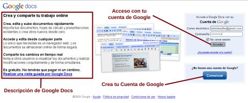 Ventana de Bienvenida de Google Docs